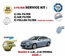 FOR MAZDA 6 1.8i 2.0i 2008-> NEW OIL AIR POLLEN 3 FILTER SET SERVICE KIT