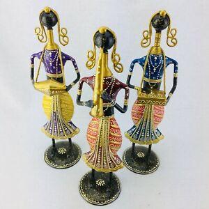 Musician Ethnic Musicians Handcarved Iron sheet Metal Figurines FolkMusic Indian