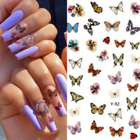 3D Nail Stickers Colorful Butterfly Series Transfer Decals Nail Art Decoration