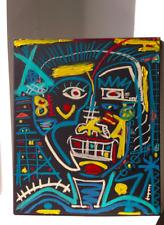 SIGNED OIL ON CANVAS PAINTING Jean Michel Basquiat Style Skull Tribal Street Art