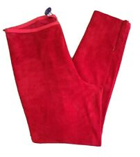 Ralph Lauren Red Fine Suede Leather Pants Skinny Trousers SIZE USA 12 UK 16