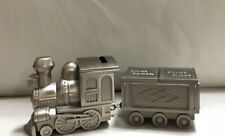 Pewter Finish Train Money Box & 1st Tooth / 1st Curl Boxes - New Baby