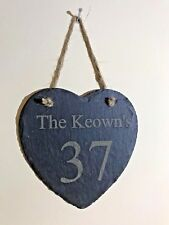 Personalised Slate Heart Plaque Birthday Gift House Number/Name