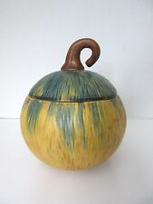 ART POTTERY PUMPKIN GOURD SQUASH BOWL with COVER~PATRICIA GARRETT STYLE Unsigned