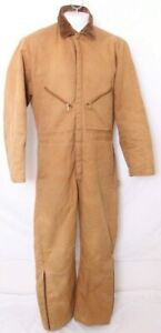 Zero-Zone By Walls Insulated Duck Outerwear Brown Corduroy Collar Coveralls Mens