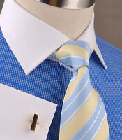 Blue Designer Check Men's Dress Shirt White Contrast French Cuff Spread Collar