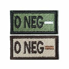 US Military Style Velcro Blood Patch O- O Neg in Olive and Tan 1x2in