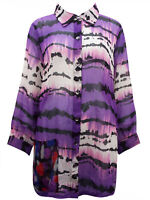 Ulla Popken blouse top tunic plus size 16/18 longline button up purple mix