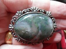 Very Large, Vintage Moss Agate Cabochon In Costume Jewellery Mount Ag12