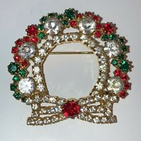 Vintage Costume Jewellery Crystal Red Green Wreath Flower Gold Tone Brooch