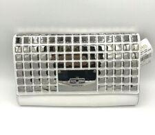 Michael Kors White Leather Clutch Metallic Silver Natalia Tile evening bag #1045