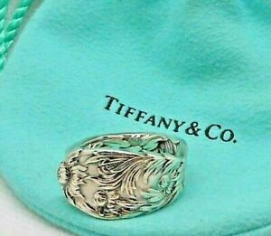 Antique 1880 Sterling Silver TIFFANY & CO Chrysanthemum Spoon Ring 8 & pouch