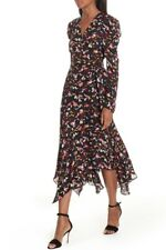 $695 A.L.C. Wrap Tianna Dress Silk Size 4 Asymmetrical Midi Celebrity Favorite