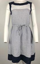Malvin I Love Linen Dress Blue White Striped Skater Belt Sz 10 Large #F16