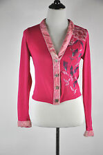 Voyage Hot Pink Cardigan Embellished with Hand painted roses Size M