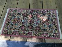"Antique Karastan Floral Door Mat rug 5519 185840 22"" x 36"" Wool USA Kirman"