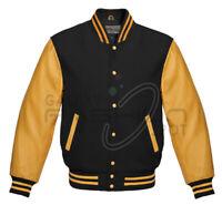 New Men's Premium Bomber Baseball Classic Snap Button Letterman Varsity Jacket