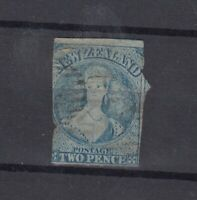 New Zealand QV 1862 2d Blue Chalon Imperf Used JK2709