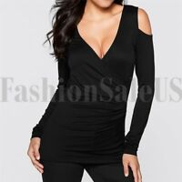 Women's Casual Solid Black T Shirt V Neck Cold Shoulder Tops Long Sleeve Tshirt
