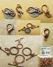 Copper Toggles and hook&eye different styles multi packs low price Findings