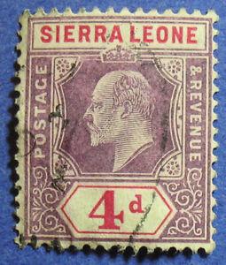1905 SIERRA LEONE 4d SCOTT# 83  S.G.# 92 USED CS08159
