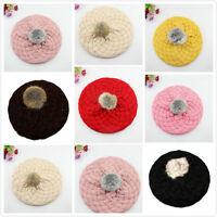 Hot Kids Baby Toddler Girls Crochet Knit Beret Hat Cute Winter Warm Beanie Cap