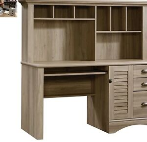 Sauder Harbor View Computer Desk with Hutch Salt Oak 3 Drawer Home Office NEW