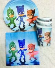 PJ MASKS PARTY PACK PLATES CUPS NAPKINS BIRTHDAY 10 GUESTS 40 PIECES DECORATIONS