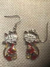 CUTE & UNUSUAL BONSNY ENAMEL CAT KITTEN COLOURED DROP EARRINGS. REDS BN