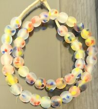 Handmade Clear multi Colored Krobo Recycled glass African trade beads-Ghana