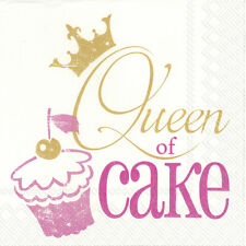 Queen of Cake Pink 20 x Disposable 3 Ply Lunch Paper Napkins Afternoon Tea Gift