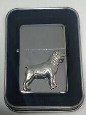 More details for rottweiler breed petrol windproof fliptop chrome/pewter cigarette lighter