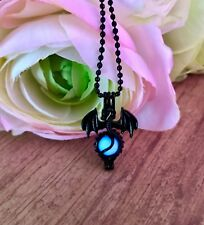 "Final Fantasy Inspired Bahamut with Glow in the Dark ""Materia"" Orb Necklace"