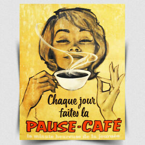METAL SIGN WALL PLAQUE French Coffee Shop Sign Retro style print cafe kitchen