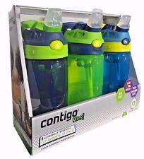 Contigo Kids Autospout Water Bottles Spill Proof Navy Blue/Green/Blue 3 Pk