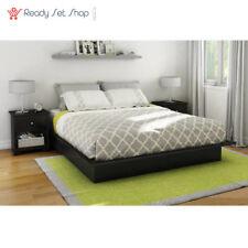 Queen Size Platform Bed Frame Bedroom Foundation Furniture Black Modern NEW