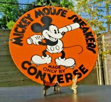 Vintage Converse Porcelain Mickey Mouse Baseball Sneakers Gas Oil Service Sign