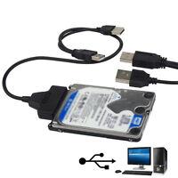 """USB 2.0 to SATA 2.5"""" Hard Drive HDD SSD Adapter Converter Cable 22Pin Serial ATA"""