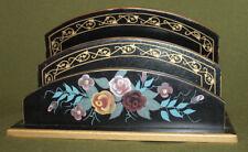 Floral wood desk paper holder