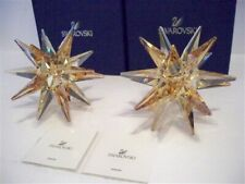 Swarovski Set Of 2 Star Candleholders Golden Shadow 5064296 Retired Bnib Coa