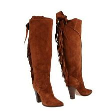 Bnwb CASADEI 'pellame' suede fringed high heel boots.uk 4/37. £690