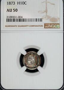 1873 P NGC AU 50 Seated Liberty Silver Half Dime ☆☆ Beautiful Toning 004