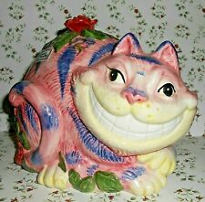 Vintage Fitz & Floyd Hand Painted Cheshire Cat Large Figural Coin Bank, 1992