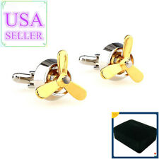 Hot Sale Men Cufflinks Gold Propeller Cuff Links With Gift Box