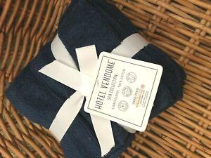 Hotel Vendome Spa Set of 6 Navy Blue Wash Face Cloth Set Soft Cotton NWT