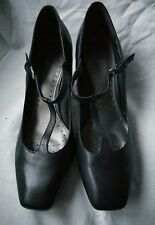 CLARKS WOMENS BLACK LEATHER ANKLE STRAP BLOCK HEEL CLOSED TOE SHOES SIZE UK 7