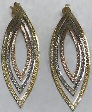 """Unique Vintage 14K Tri Color Gold 2"""" Dangle Drop Chain Earrings!"""