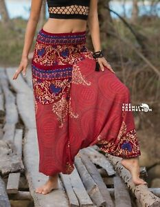 Peach Harem Pants Yoga Trousers Mandala Comfy Yoga Festival Aladdin Boho