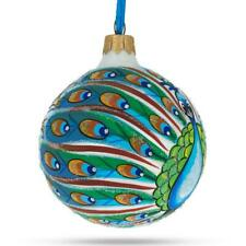 Peacock Glittered Glass Ball Christmas Ornament