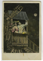 c 1907 Child Children PIERROT CLOWN KID w/ family in Windmill photo postcard
